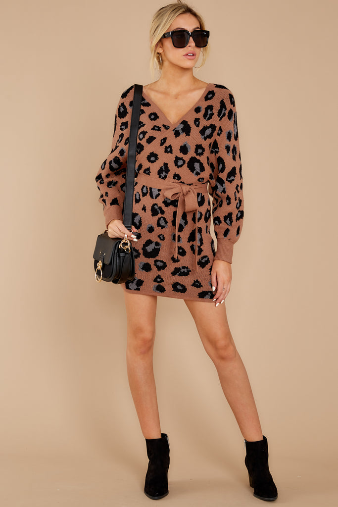 Topic Of Gossip Grey Leopard Print Dress