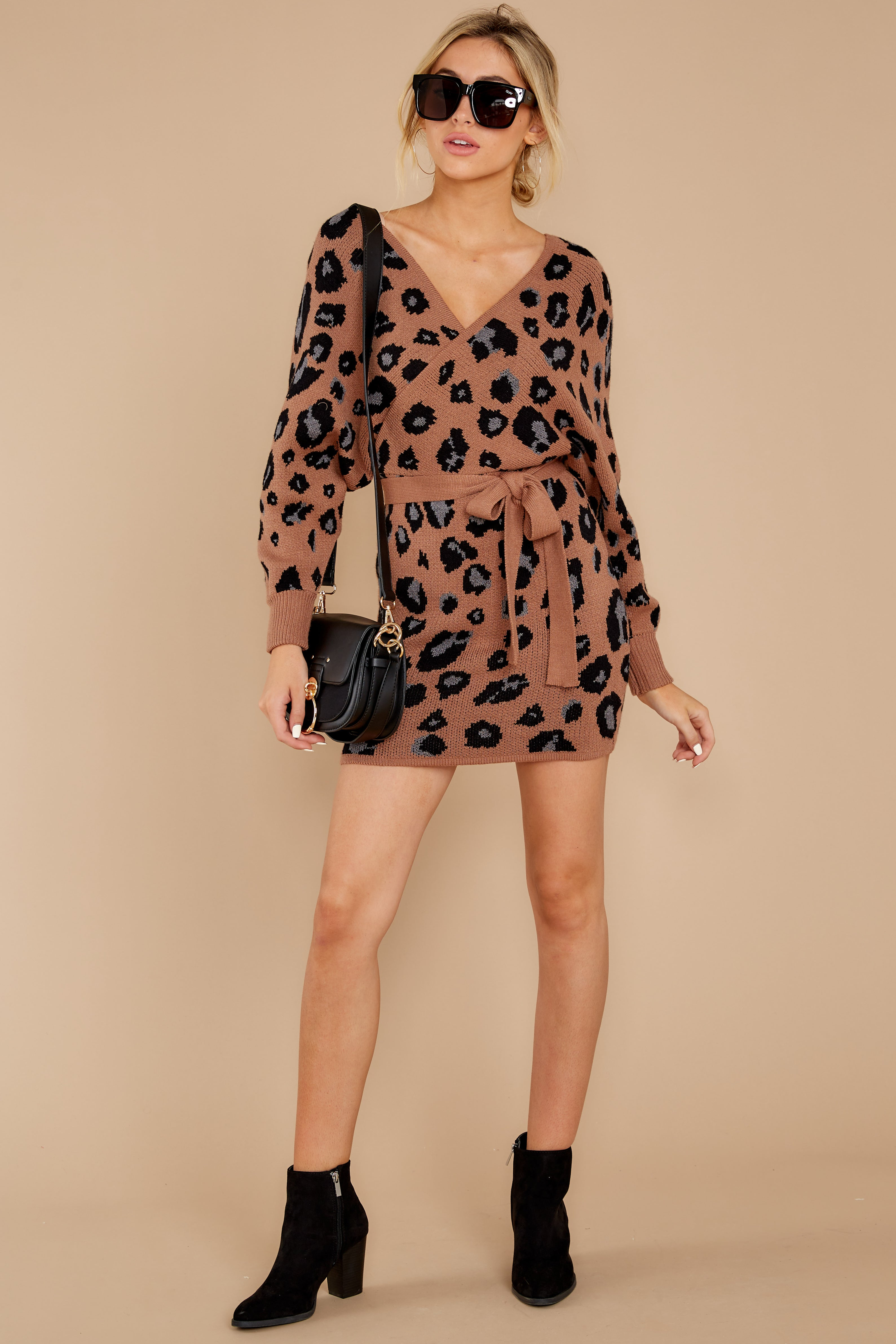 4 Putting It Wildly Mocha Brown Leopard Print Sweater Dress at reddressboutique.com