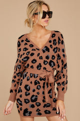 5 Putting It Wildly Mocha Brown Leopard Print Sweater Dress at reddressboutique.com