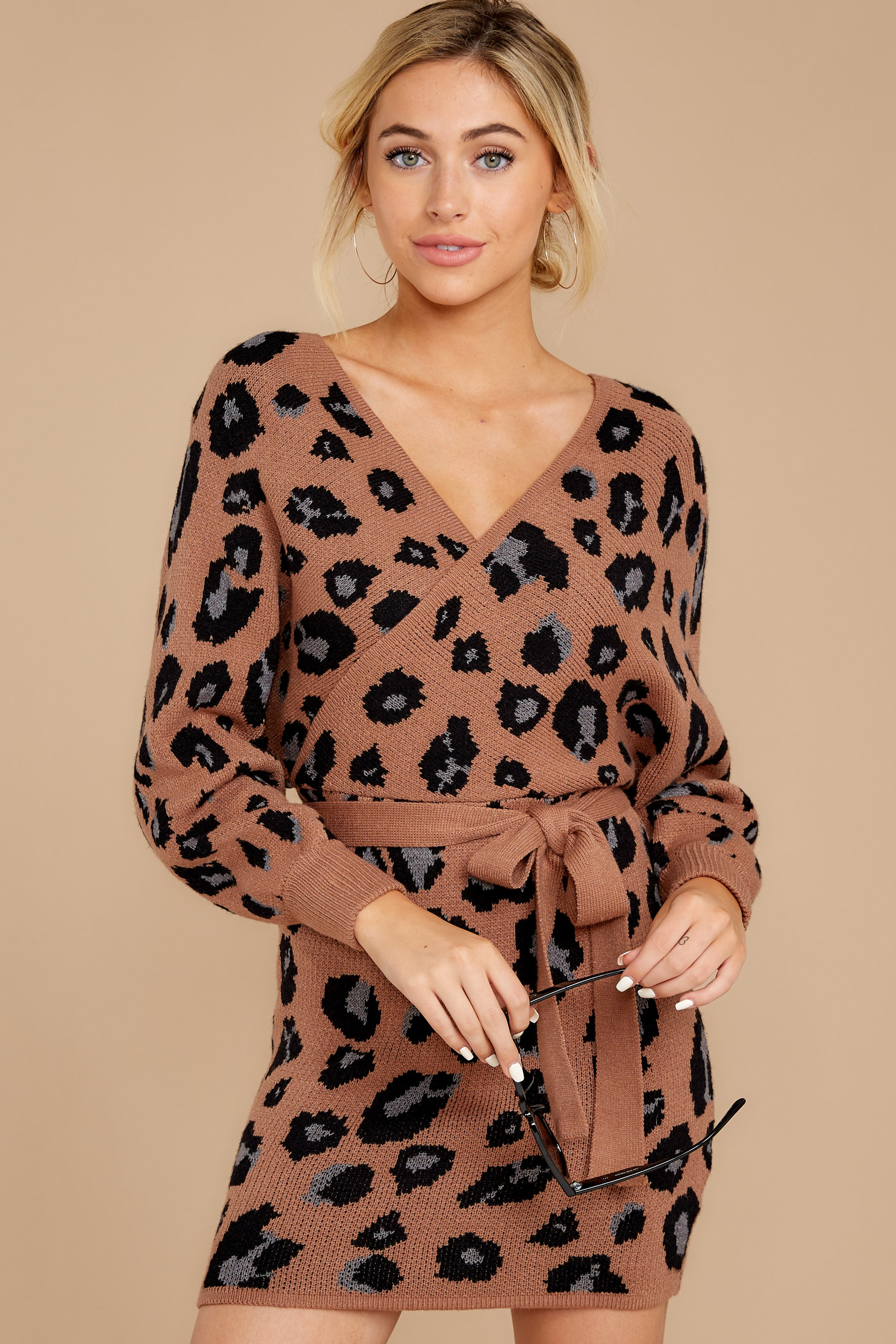 6 Putting It Wildly Mocha Brown Leopard Print Sweater Dress at reddressboutique.com