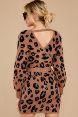 8 Putting It Wildly Mocha Brown Leopard Print Sweater Dress at reddressboutique.com