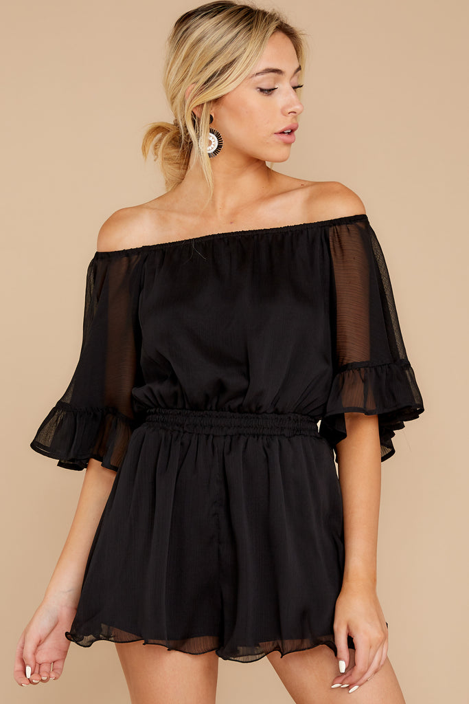 1 The Black Iris Micro Stripe Surplice Romper at reddressboutique.com