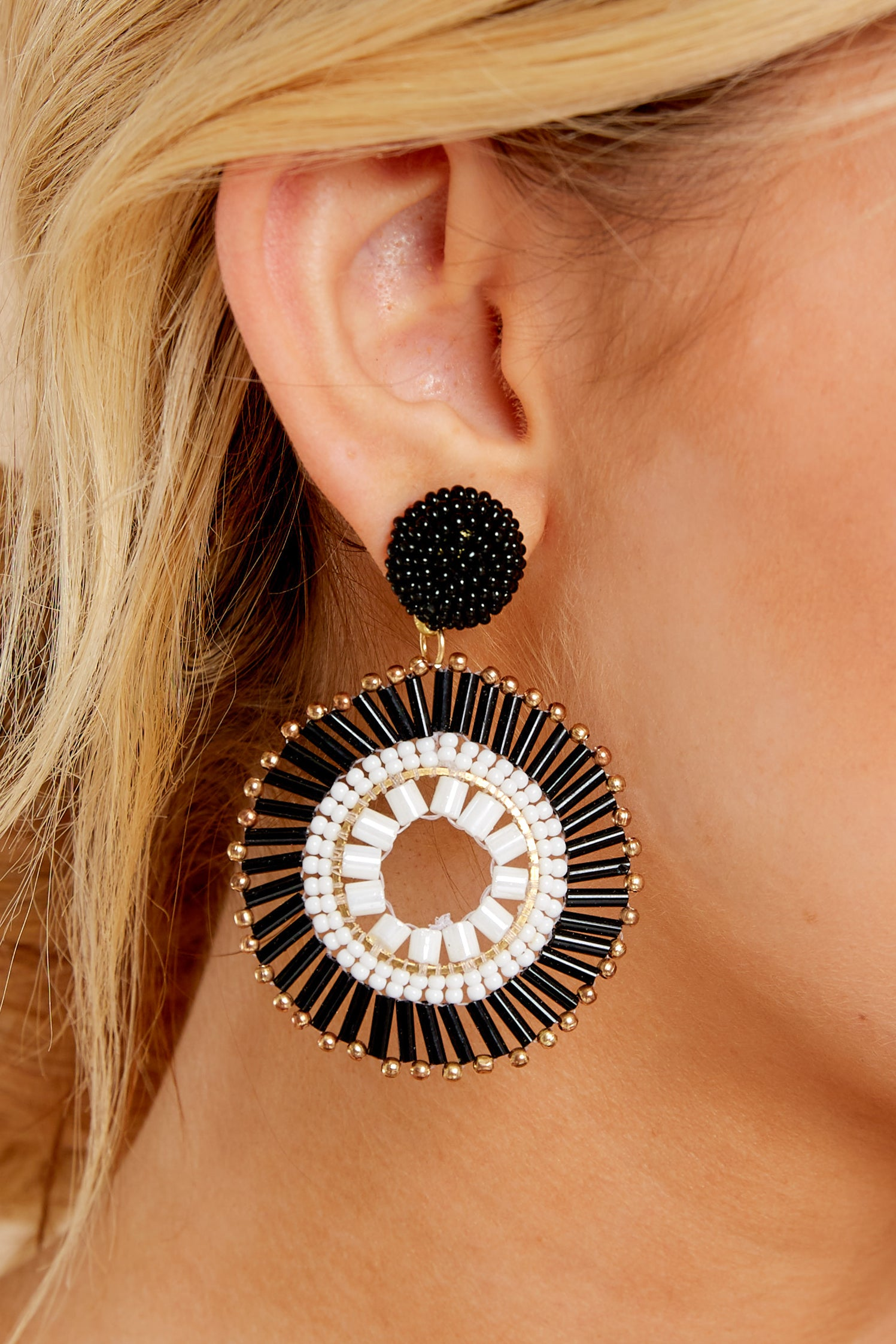 1 Like The Attention Black And White Earrings at reddressboutique.com