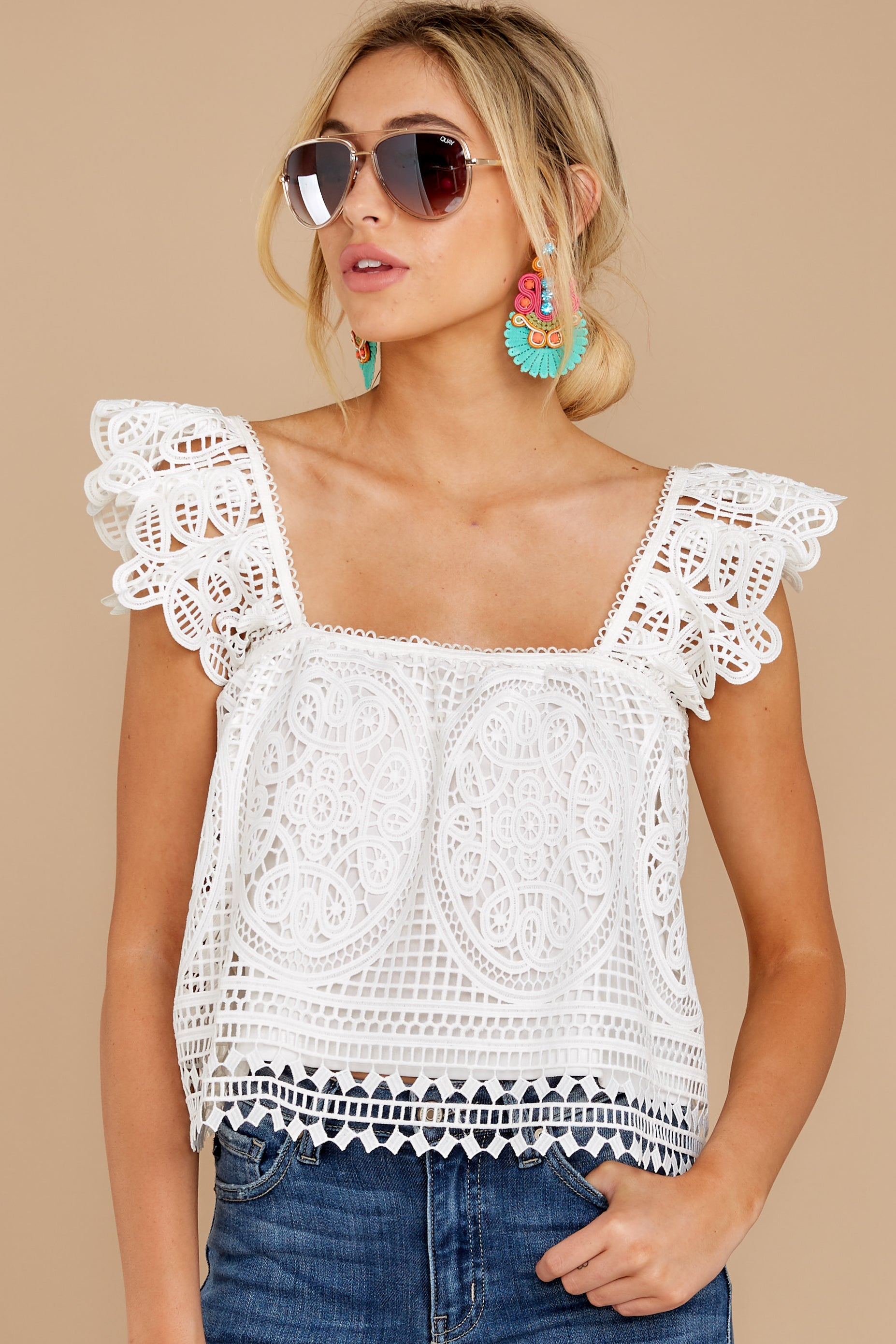 Right Time Right Place White Lace Top