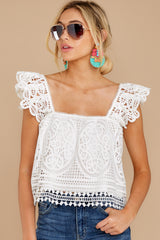1 Right Time Right Place White Lace Top at reddress.com