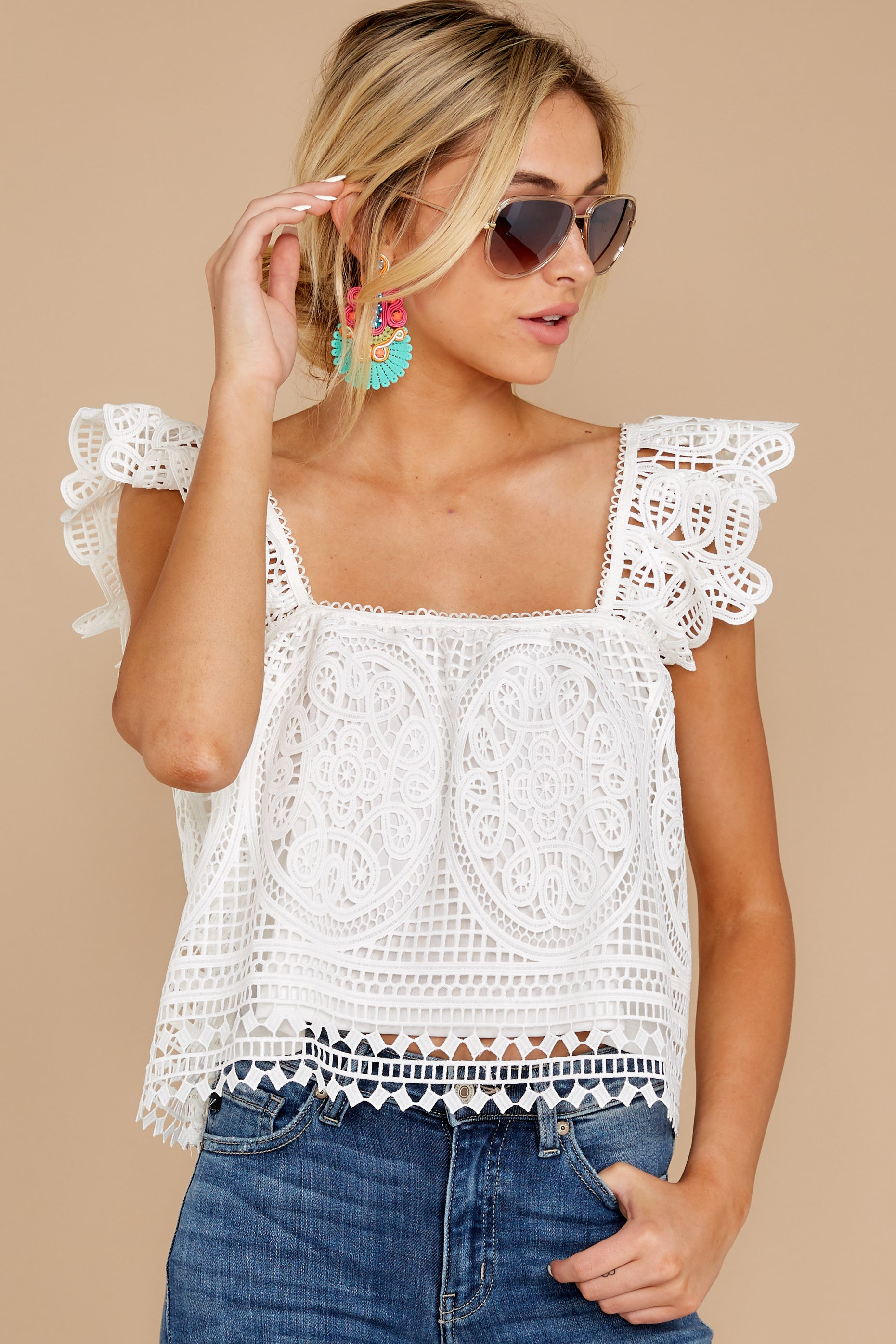 6 Right Time Right Place White Lace Top at reddress.com