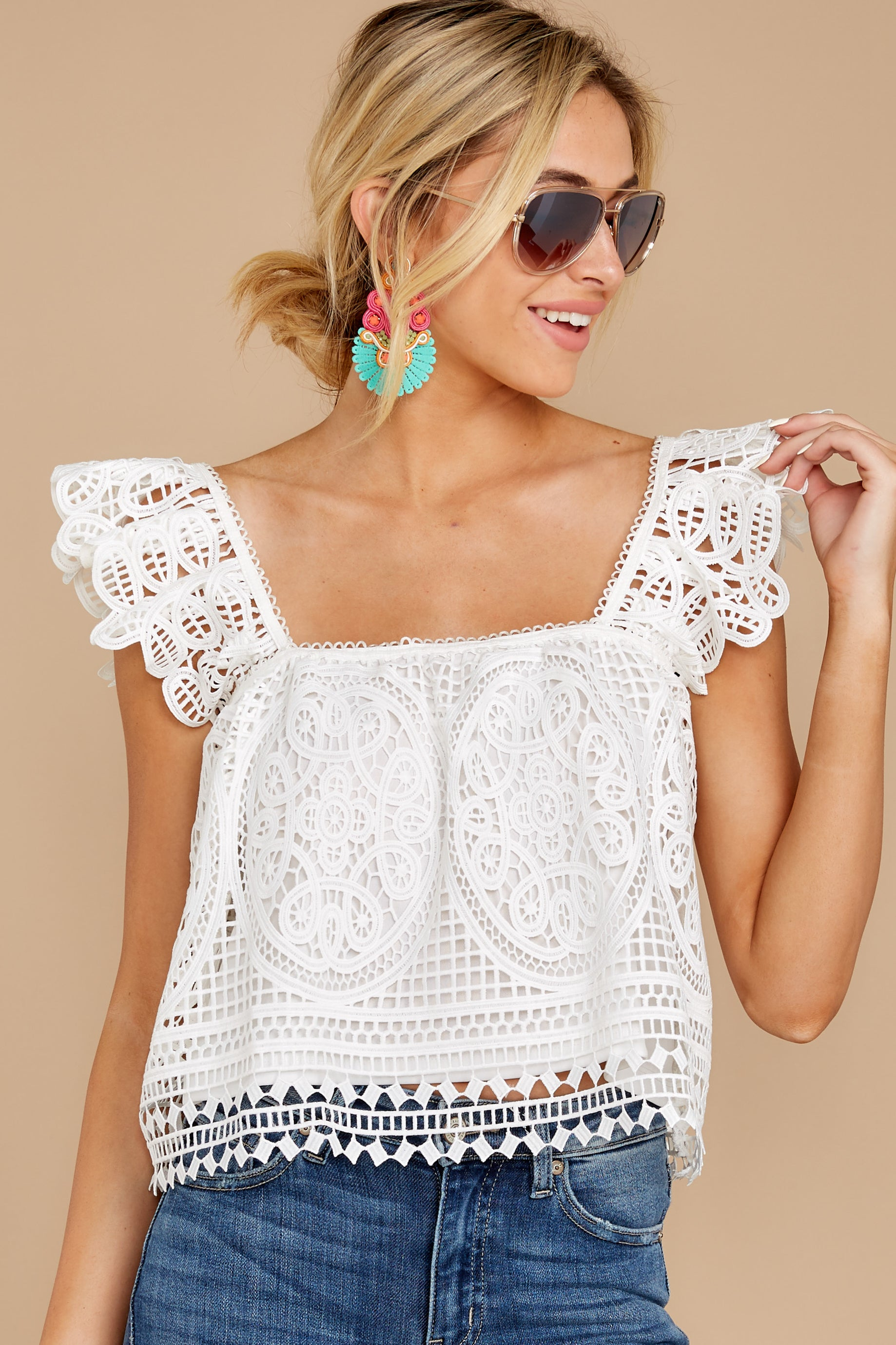 7 Right Time Right Place White Lace Top at reddress.com