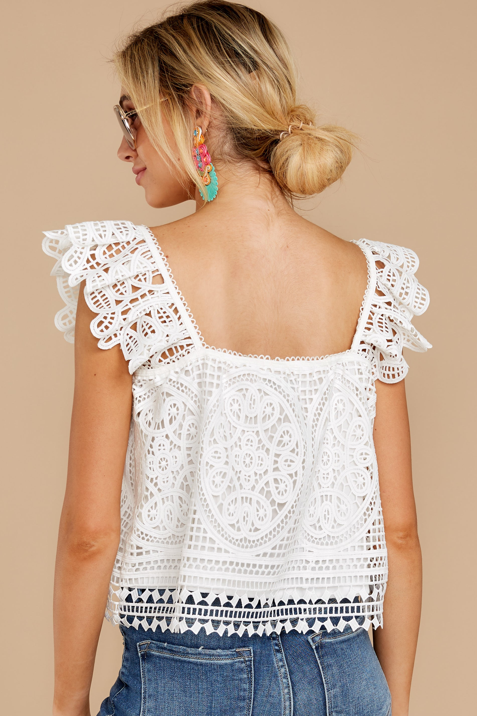 8 Right Time Right Place White Lace Top at reddress.com