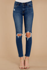 2 You Could Be Famous Dark Wash Distressed Skinny Jeans at reddress.com