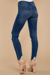 3 You Could Be Famous Dark Wash Distressed Skinny Jeans at reddressboutique.com