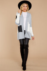 3 Cafe Cutie Light Grey Multi Cardigan at reddressboutique.com