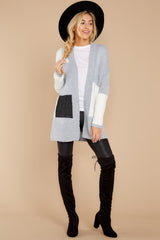 2 Cafe Cutie Light Grey Multi Cardigan at reddressboutique.com