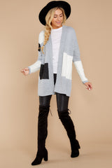 5 Cafe Cutie Light Grey Multi Cardigan at reddressboutique.com