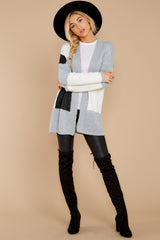 4 Cafe Cutie Light Grey Multi Cardigan at reddressboutique.com