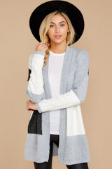 6 Cafe Cutie Light Grey Multi Cardigan at reddressboutique.com