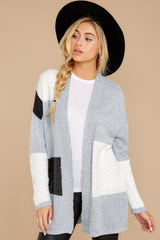7 Cafe Cutie Light Grey Multi Cardigan at reddressboutique.com