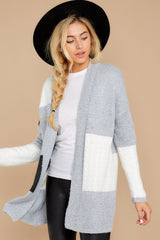 8 Cafe Cutie Light Grey Multi Cardigan at reddressboutique.com