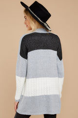9 Cafe Cutie Light Grey Multi Cardigan at reddressboutique.com