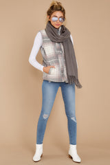 2 Garvey Grey Plaid Vest at reddressboutique.com
