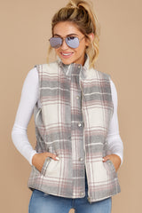 5 Garvey Grey Plaid Vest at reddressboutique.com