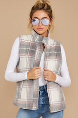 6 Garvey Grey Plaid Vest at reddressboutique.com