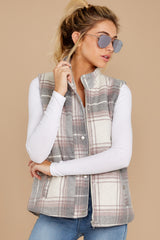 7 Garvey Grey Plaid Vest at reddressboutique.com
