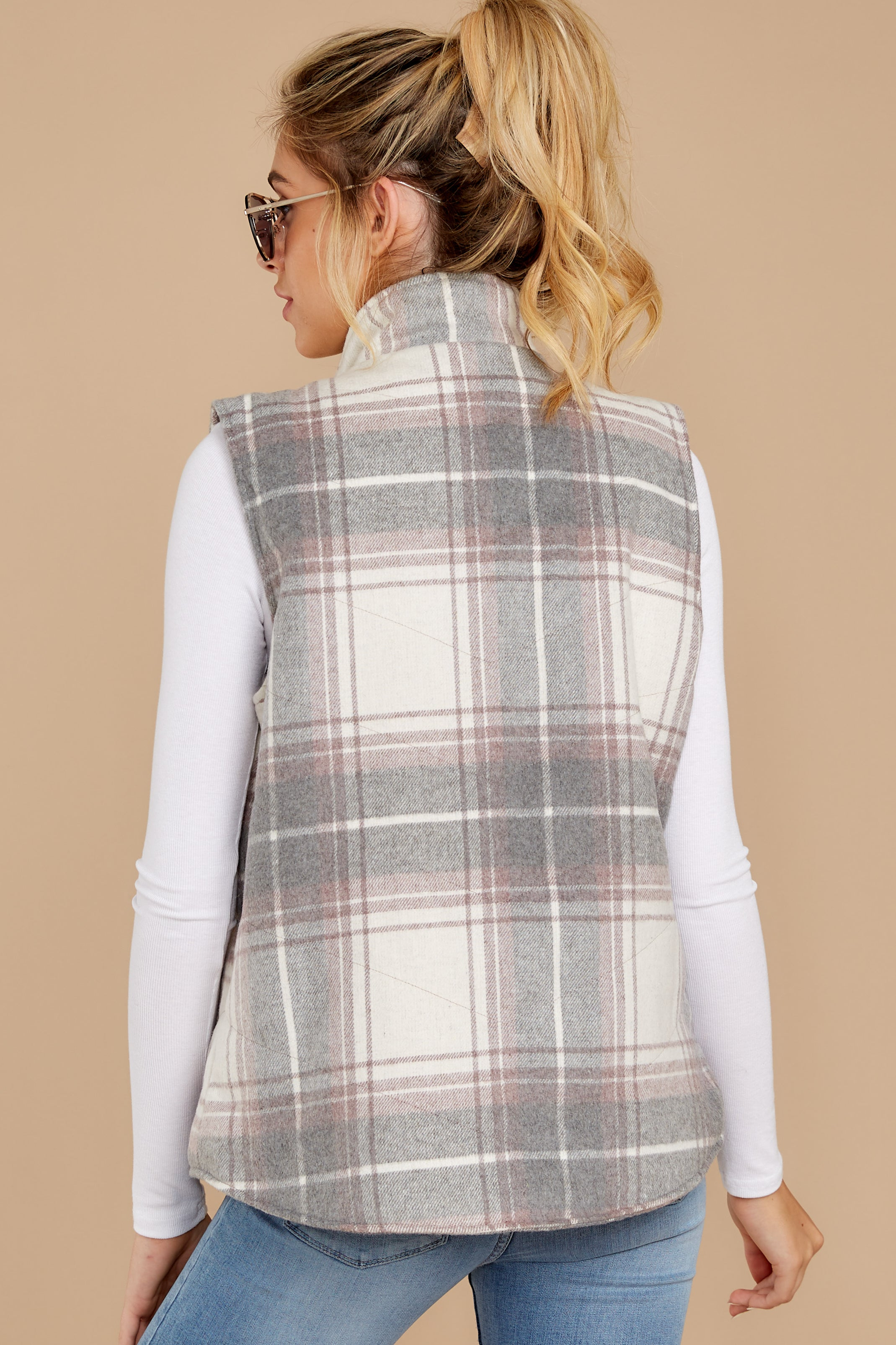 8 Garvey Grey Plaid Vest at reddressboutique.com