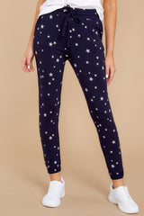 2 On The Fly Navy Blue Print Joggers at Reddressboutique.com