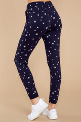 3 On The Fly Navy Blue Print Joggers at Reddressboutique.com