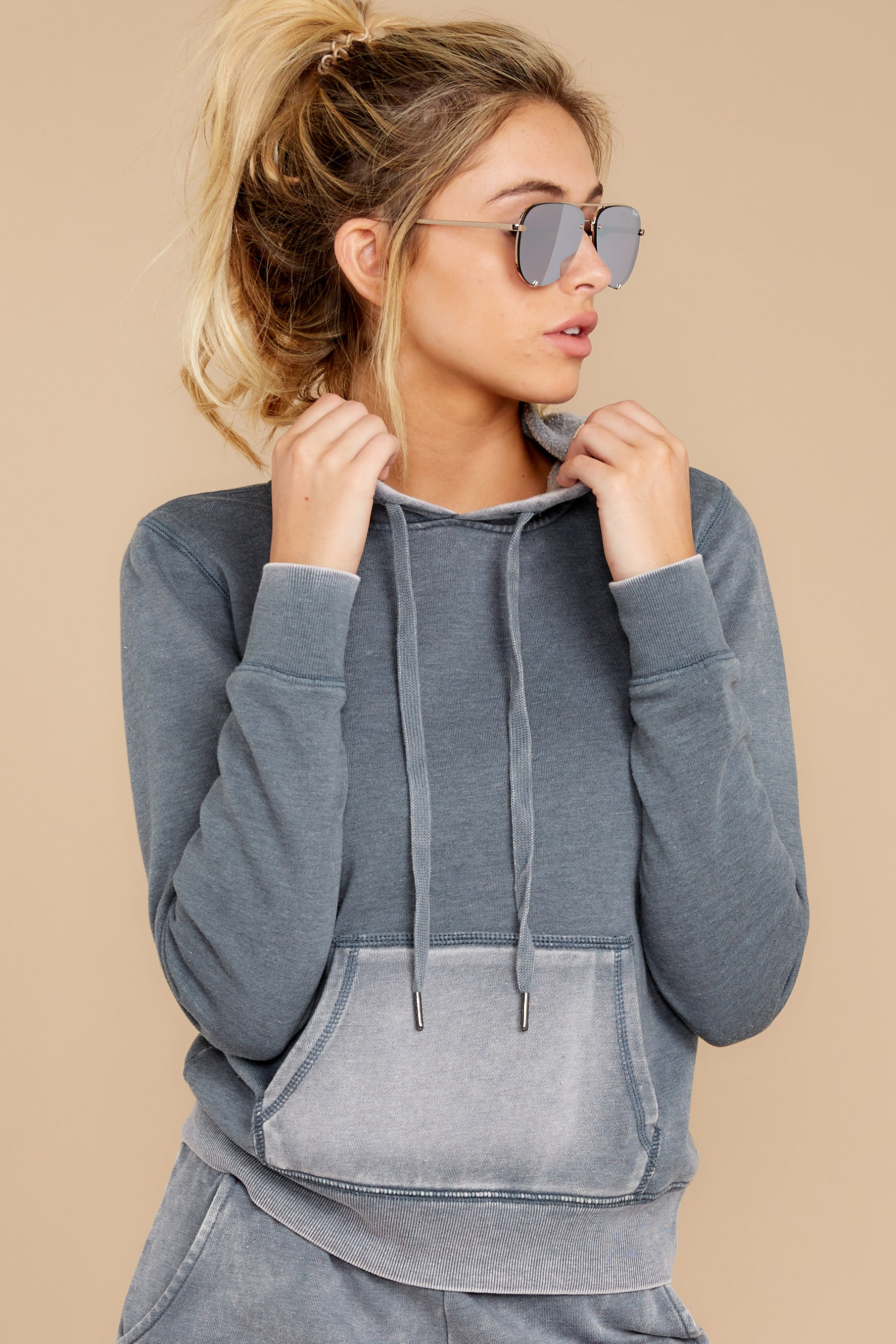 6 The Storm Grey Faded Wash Pullover Hoodie at reddressboutique.com