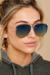 1 High Key Mini Rimless Gold Blue Sunglasses at reddress.com
