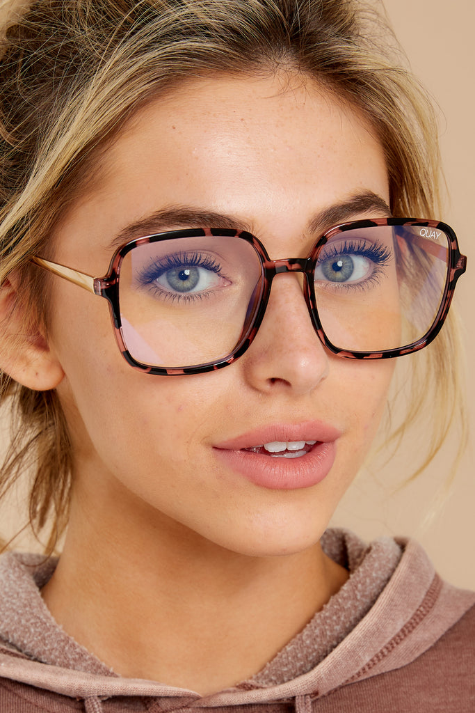 2 9 to 5 Peach Clear Blue Light Glasses at reddress.com