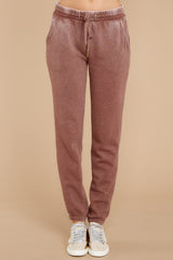 3 The Friar Brown Faded Wash Jogger at reddressboutique.com