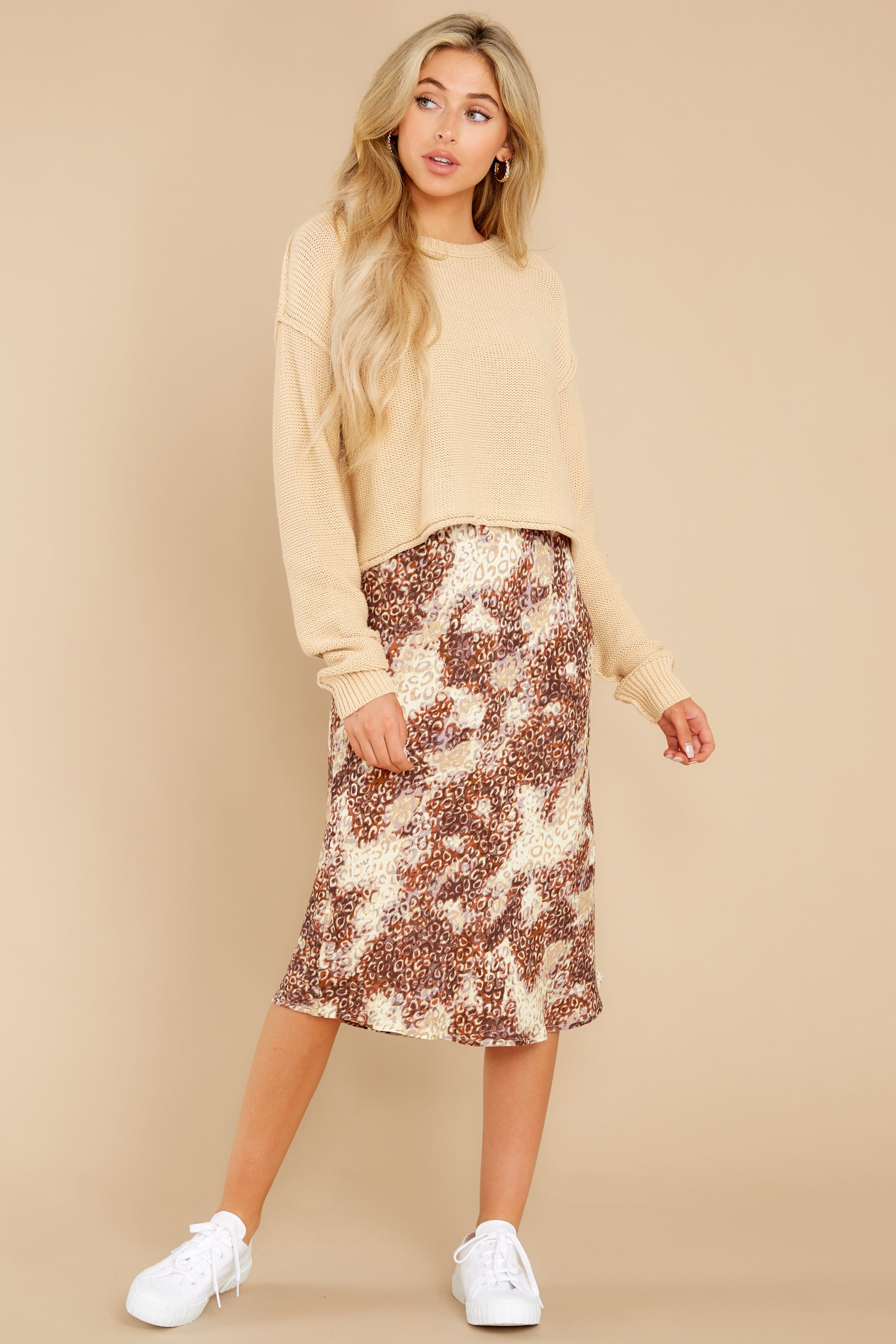 4 On The Mark Multi Print Midi Skirt at reddress.com