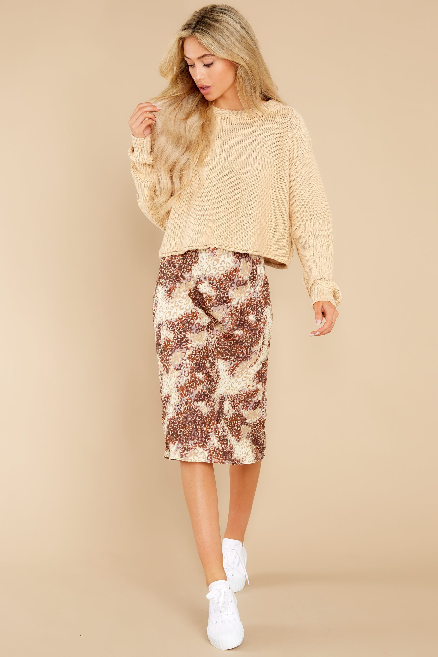 5 On The Mark Multi Print Midi Skirt at reddress.com