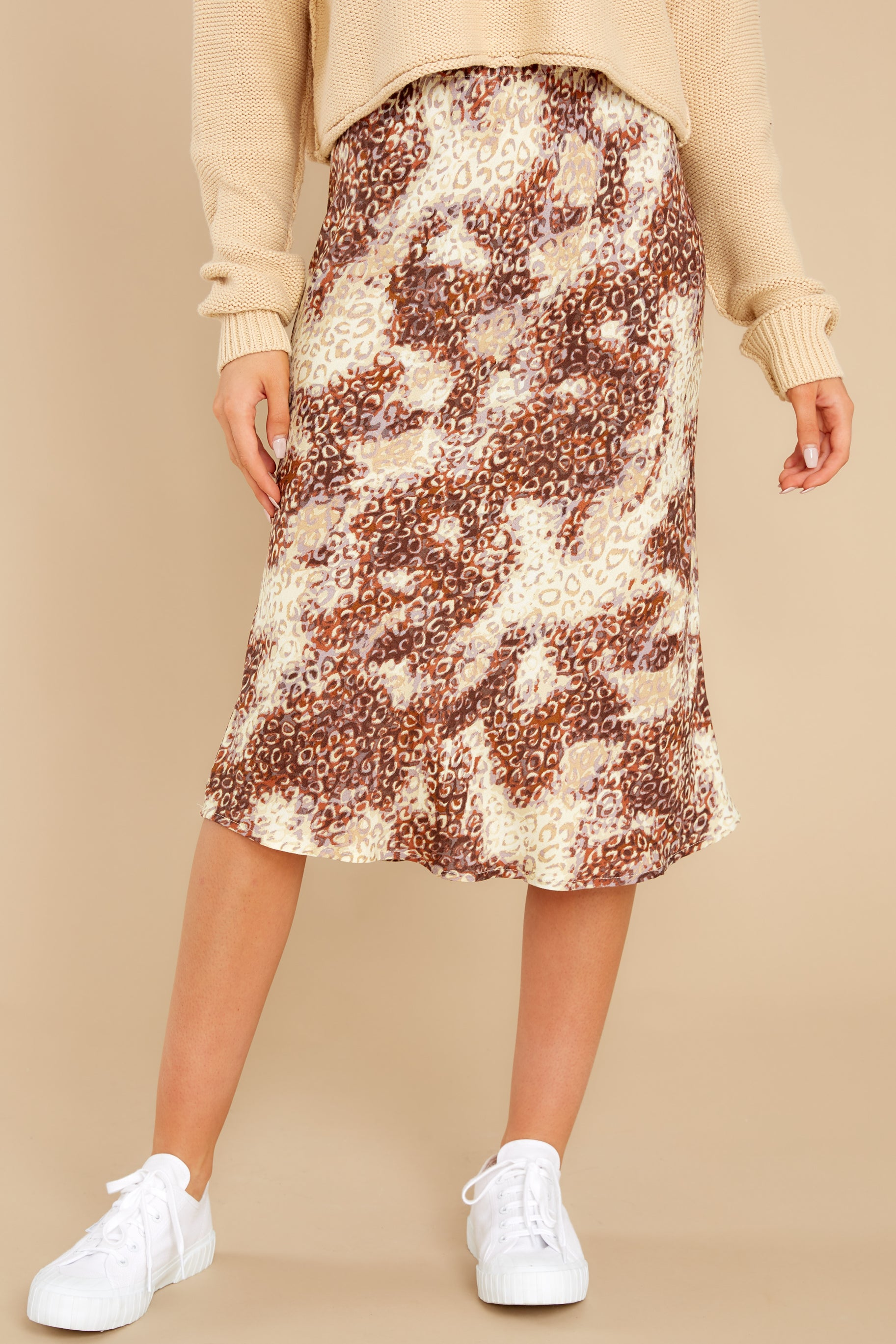 1 On The Mark Multi Print Midi Skirt at reddress.com