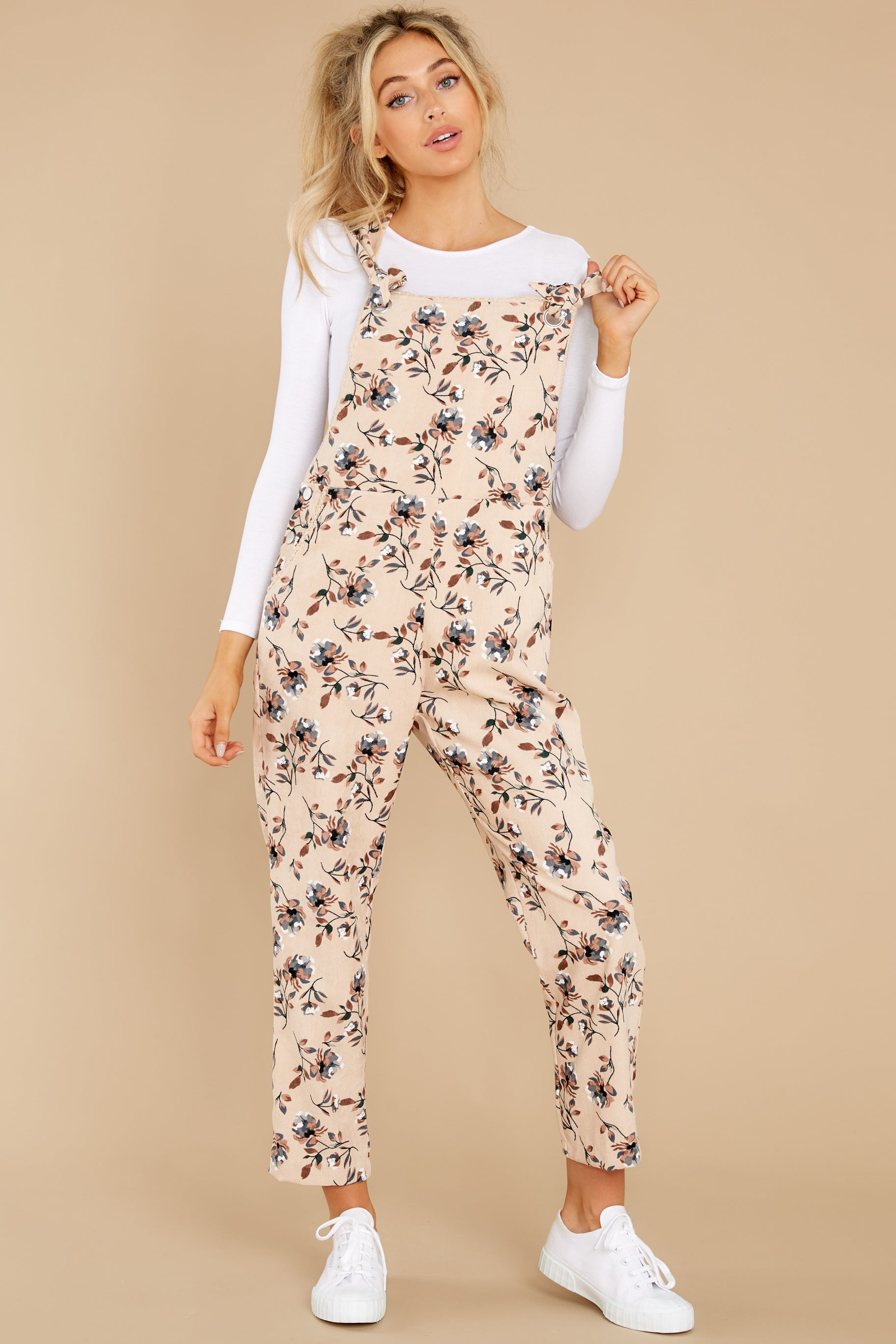 1980s Clothing, Fashion   80s Style Clothes Its All Peachy Cream Floral Print Overalls Beige $58.00 AT vintagedancer.com
