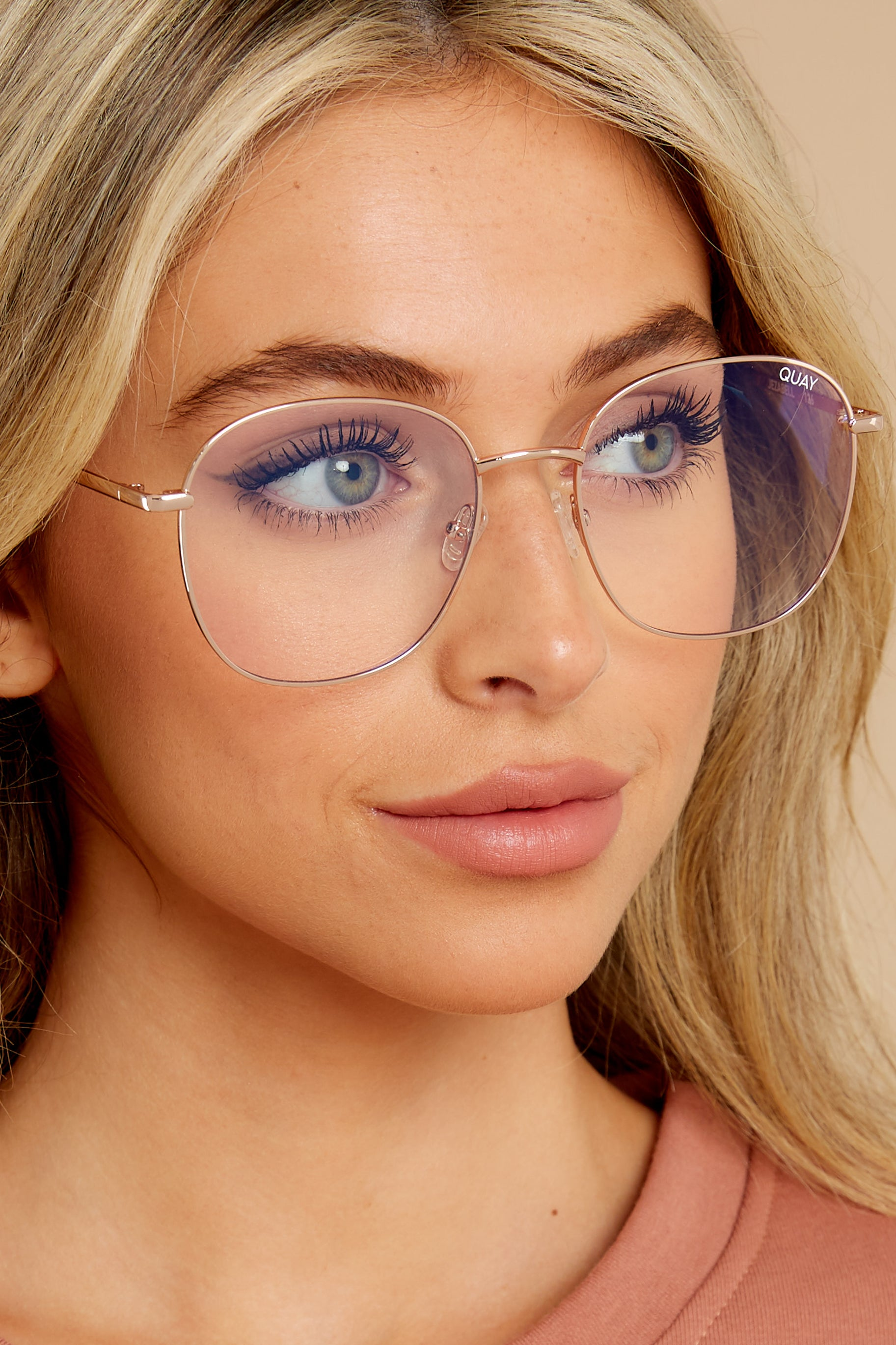 1 Jezabell Gold Clear Blue Light Glasses at reddress.com