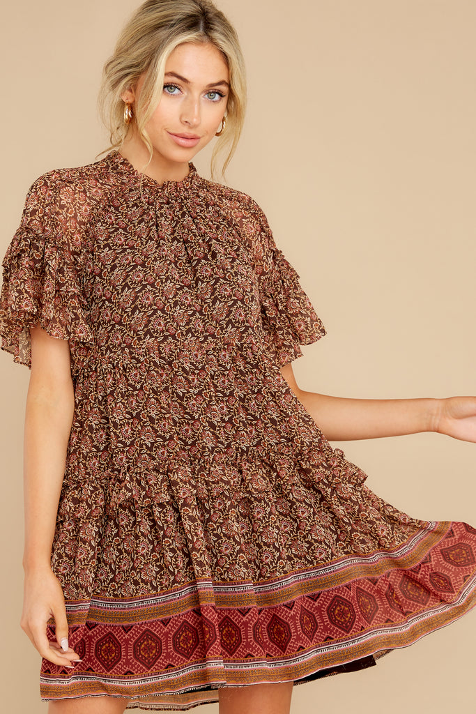 1 Flaunt Fallishness Mauve And Rust Multi Print Dress at reddress.com