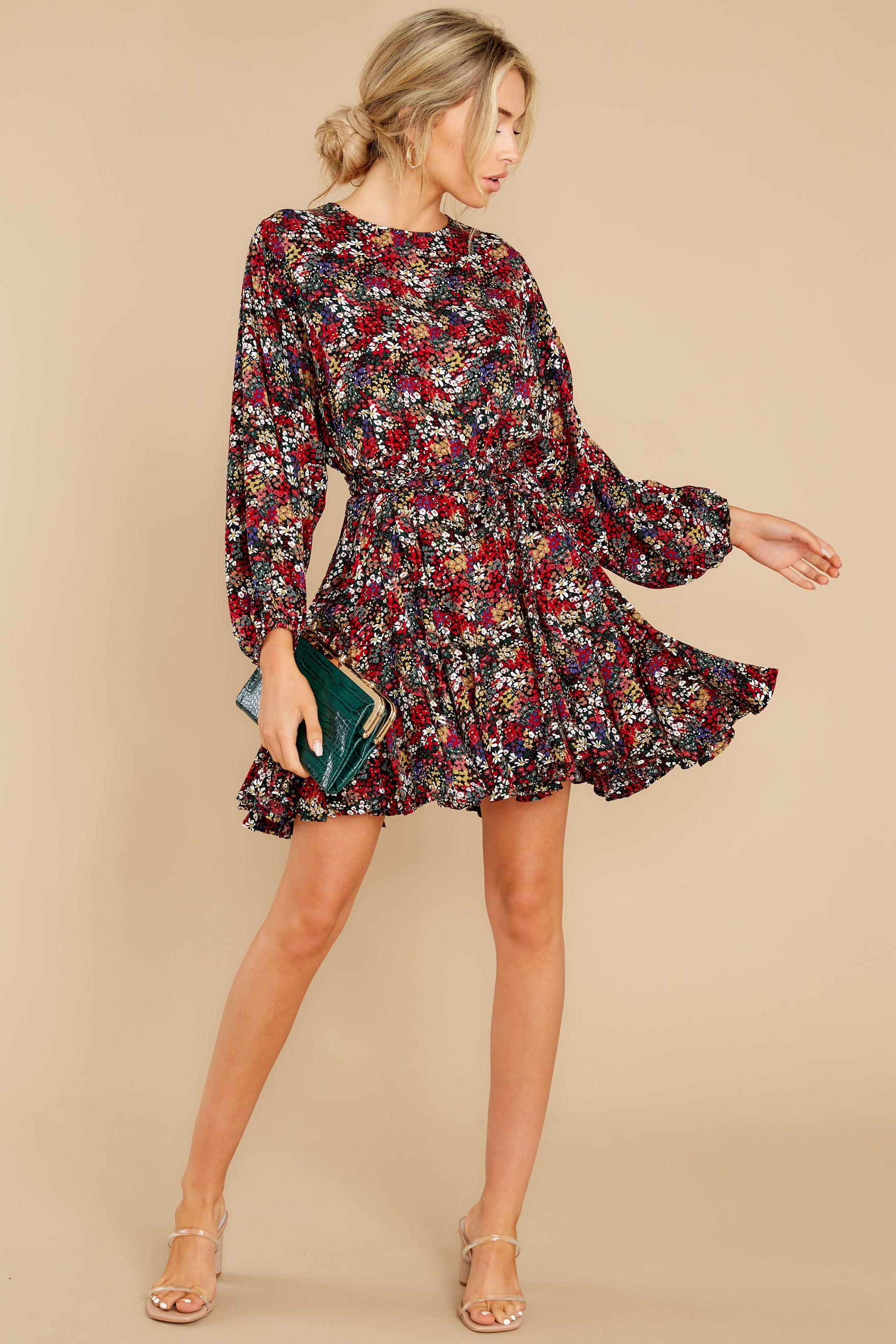 3 Here For You Black Floral Print Dress at reddress.com