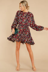 4 Here For You Black Floral Print Dress at reddress.com