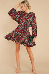 1 Here For You Black Floral Print Dress at reddress.com