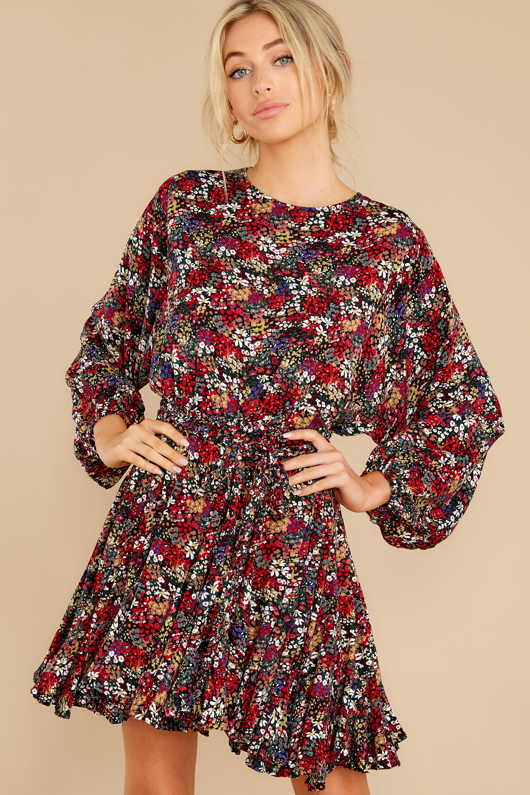 2 Here For You Black Floral Print Dress at reddress.com