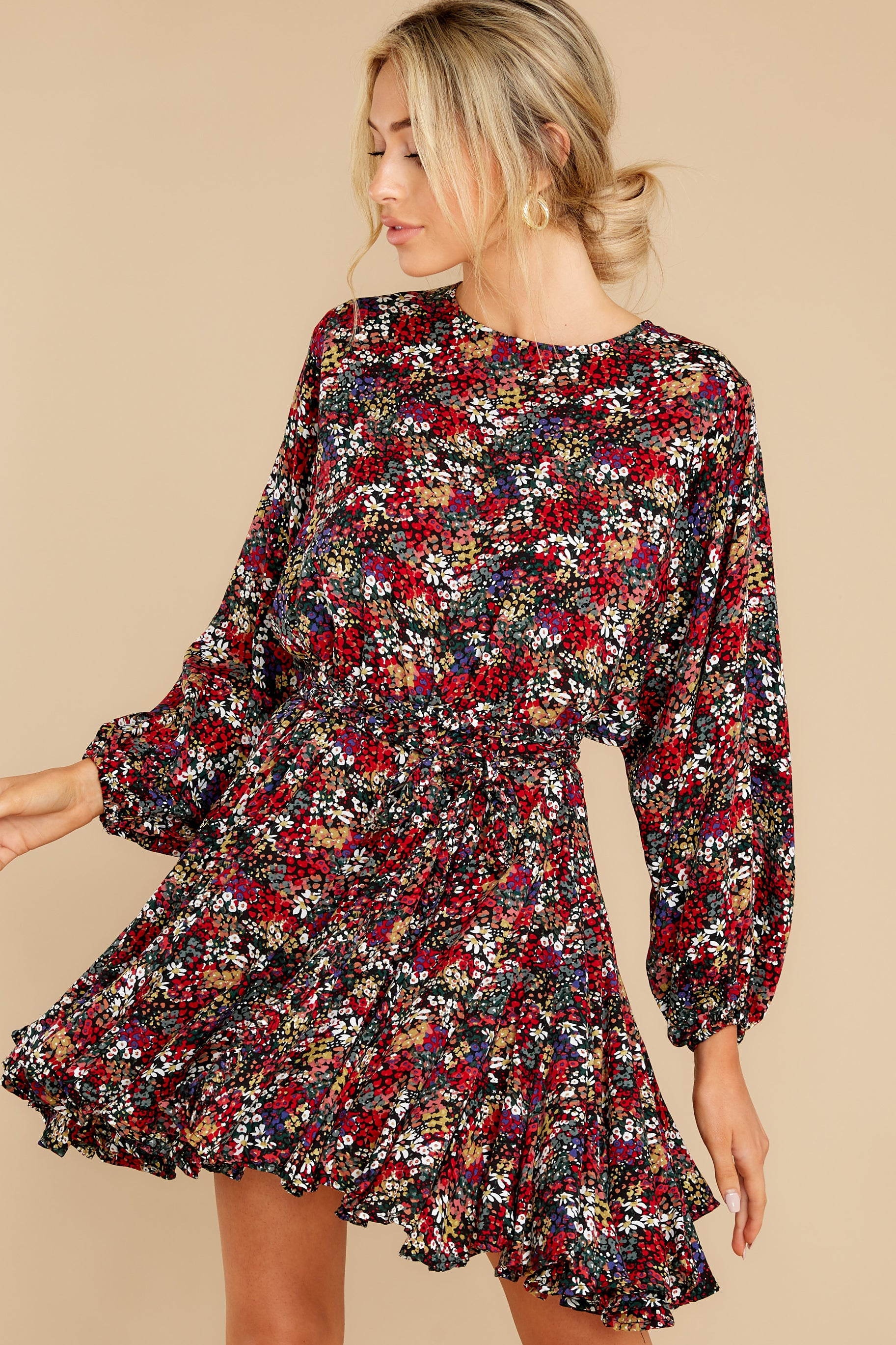 6 Here For You Black Floral Print Dress at reddress.com