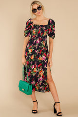 4 Always You Black And Red Floral Print Maxi Dress at reddress.com