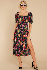 5 Always You Black And Red Floral Print Maxi Dress at reddress.com
