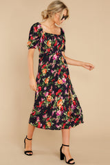 6 Always You Black And Red Floral Print Maxi Dress at reddress.com