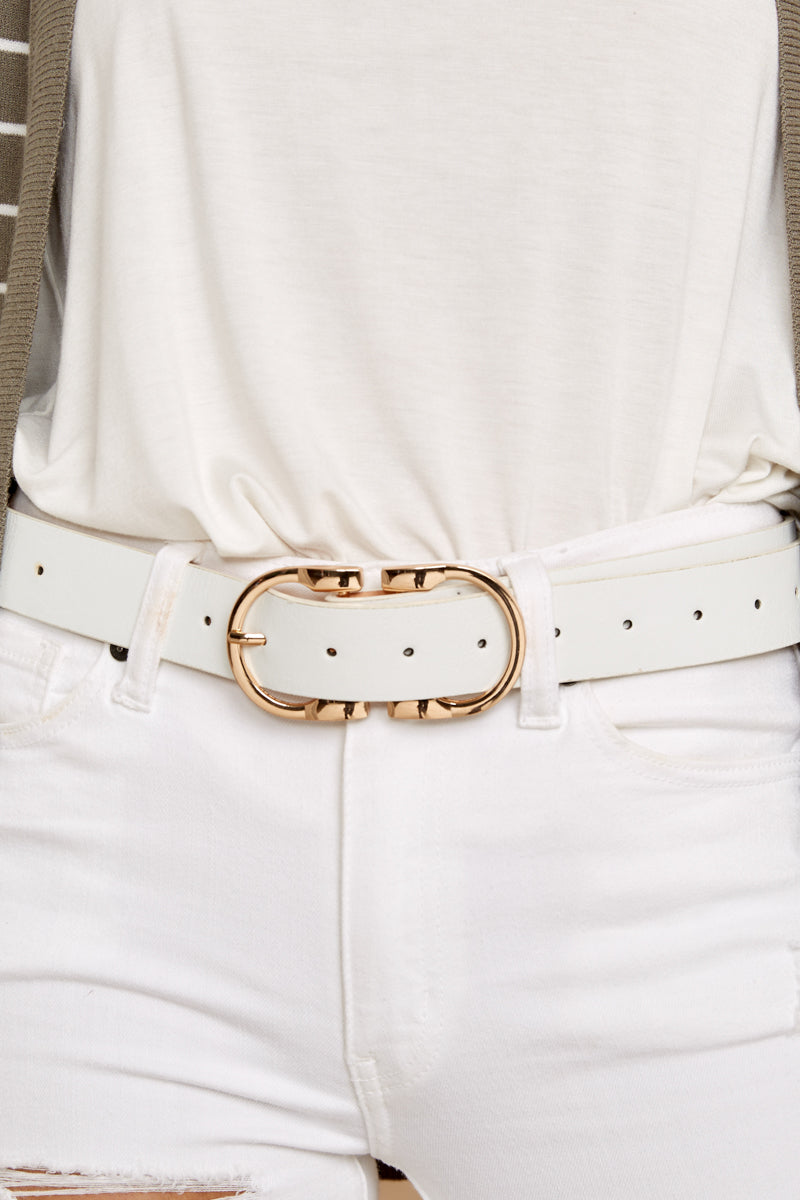3 Here To There White Belt at reddressboutique.com
