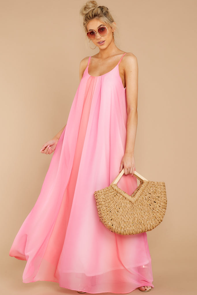 Wrapped In Elegance Flamingo Pink Maxi Dress