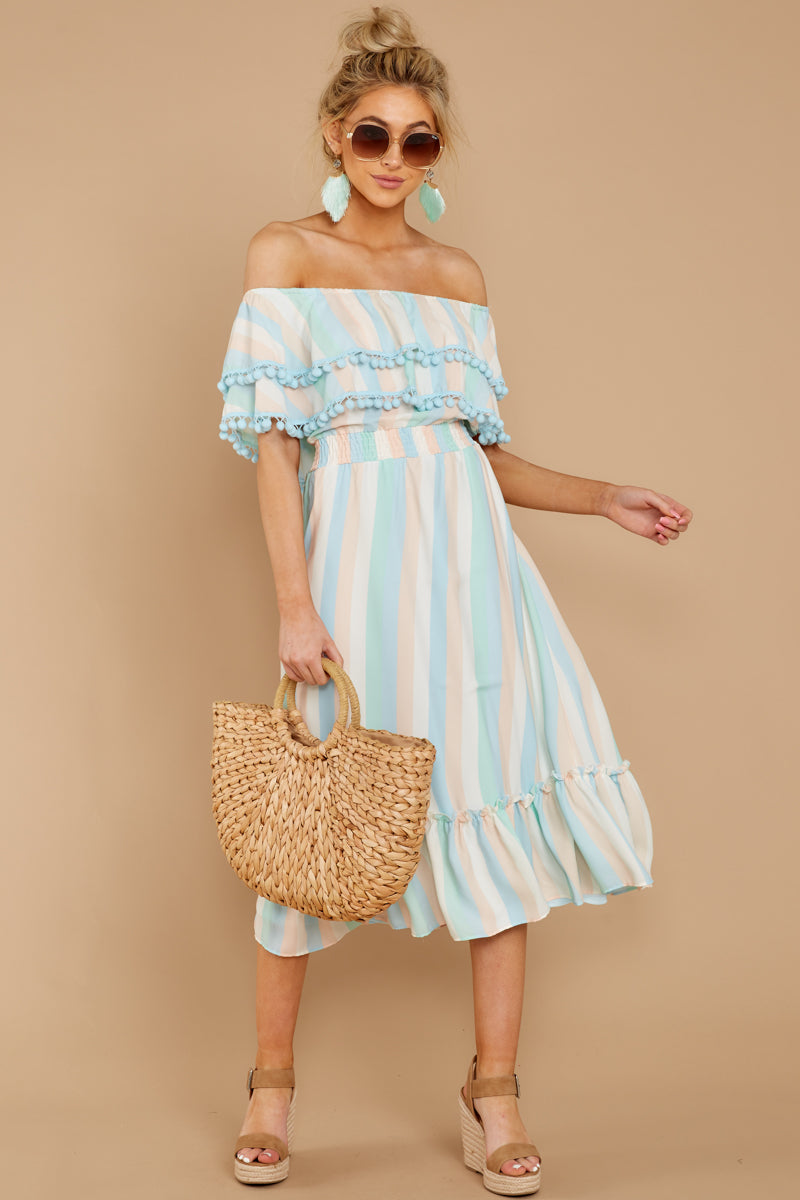 be28e17c3a8d Lovely Pastel Multi Stripe Midi - Off The Shoulder Dress - Dress ...
